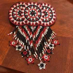 Hand beaded barrette- one of a kind!